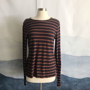 J. Crew Striped Painter T-shirt with Zips